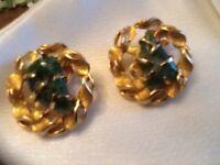 Vtg. Signed BSK Goldtone Clip Earrings w/ Green Jade Jadeite Stones