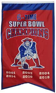 "New England Patriots 6 Time Super Bowl Champions Banner Flag 30""x50"" US Shipper"