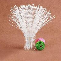 (US) 100pcs Bridal Pearl Spray White Beads on Wire Stems Wedding Bouquets Craft