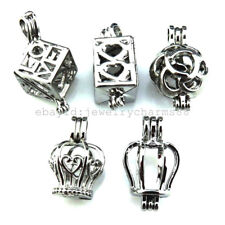 21691 5X/lot Mixed Silver Locket Square Love Heart Rose Crown Pearl Cage Pendant