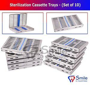 10 AUTOCLAVE STERILIZATION CASSETTE RACK DENTAL BOX TRAY FOR 10 INSTRUMENTS