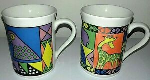 Continental Muggz - Pair of Parrots + Colourful Animals 250ml Matt Finish Mugs