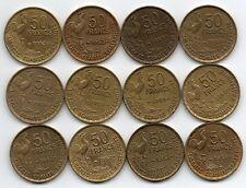 LOT DE 10 Pièces de 50 francs GUIRAUD 1953