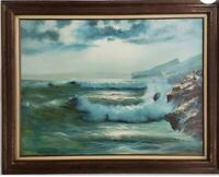David Burton Signed Seascape Oil On Canvas nautical themed oil painting
