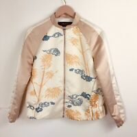 Zara Satin Bomber Jacket Tiger Print Pink White Blogger Fave Sold Out Rare Small