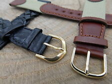 Lot of 2 Hirsch Brown Leathr/Nylon & Black Leather 18mm Mens Vintage Watch Band