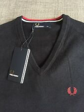BNWT Fred Perry Navy Blue Merino Wool V Neck Jumper XS Mod Ska Skins RRP £79.99