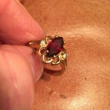 Vintage Estate Costume Ring 14K HGE Gold Plated w/ Faux Gem Stones Lind