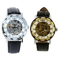 Winner Hombres Reloj automatico - Reloj de pulsera de cuero - Oro blanco D5P4