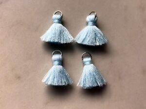 4 x Cotton Tassels 20mm 2cm Long - LIGHT BLUE - great for earrings & accessories
