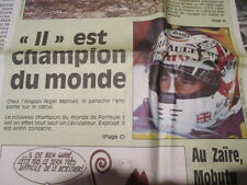 NIGEL MANSELL CHAMPION DU MONDE DE FORMULE 1 EN 1992