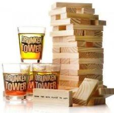Wooden Building Blocks Drunken Tower Jenga Party Drinking Games 4 Shot Glass