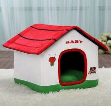 New Cute Red Roof Zipper Pet Dog Cat Sofa Bed House Kennel Fold Tent Kitty Puppy