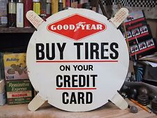 STEEL SIGN GOOD YEAR TIRES GAS STATION IN STORE metal original mid 1900s SERVICE