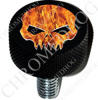 2 Black Billet Aluminum Knurled Tire Air Valve Stem Caps FIRE SKULL G B 038