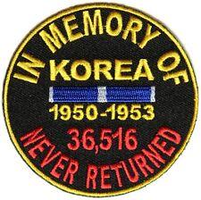 IN MEMORY OF KOREA VETERANS NEVER RETURNED PATCH