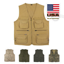 US Mororock Photographer Cargo Hunting Fishing Safari Hiking Cotton Vest