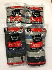 HANES  MEN   BRIEFS  12 PK ASSORTED  COLORS COTTON  IN    FAMOUS BRAND BAG
