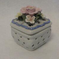 """Pierced porcelain vanity box, w floral cover;  3.5"""" x 4"""""""