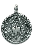 IMMACULATE HEART / CHRIST BEARING HIS CROSS silver Medal, from Mexican original