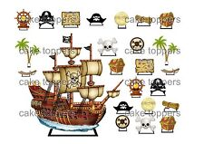 24 PRECUT PIRATE SHIP STAND UP SCENE EDIBLE CAKE TOPPER CUPCAKE TOPPERS