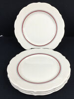 "Syracuse China Set Of 4 Scalloped 9 1/8"" Plates Red And Black Stripes USA"