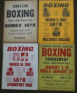 4 Different Boxing Posters, 1939-1984, Albion, Hillsdale, Springport, Michigan