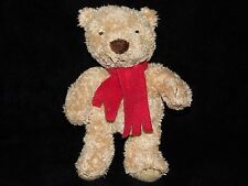 MARKS AND SPENCER SPENCER TEDDY BEAR SOFT TOY GOLDEN RED SCARF COMFORTER  M&S