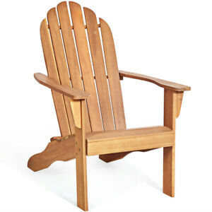 Wood Outdoor Adirondack Chair Natural Accent Furniture Finish Acacia Porch Seat