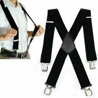 Men's Heavy Duty Suspenders Adjustable Clip On Work Braces Wide Solid Colour