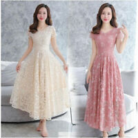 Summer Women Lace A Line Empire Waist Tunic Party Formal Wedding Gown Long Dress