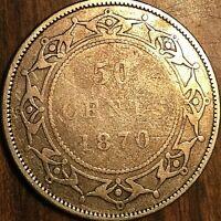 1870 NEWFOUNDLAND SILVER 50 CENTS COIN HALF DOLLAR
