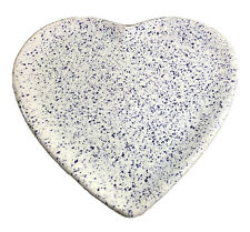 """Made In Portugal for Macy & Co Stoneware Dish Heart Shape Blue InItialed 9""""x 9"""""""