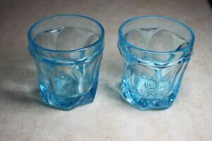 2 Early Turquoise Flint Glass Bright Clear Blue Whiskey Glasses Pressed Glass