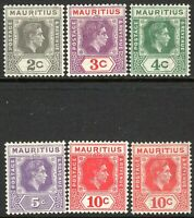 Mauritius1938 part set multi-script CA mint SG252/253/254/255/256/256b (6)