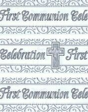 FIRST COMMUNION BANNER PACK WHITE & SILVER WITH CROSS DECORATIONS (EX) 141