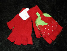Strawberry fingerless mittens glove stretch pull back cover red foodies new