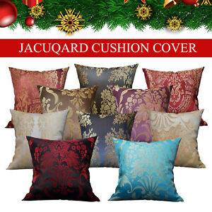 """New Jacquard Cushion Covers OR Filled Cushions 18""""x18"""" Decorative Floral Pillows"""