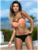S M L XL Bikini MARITA Push-up Coral Peach Black Lace High Quality GABBIANO New