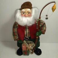 Fabric Mache Fisherman Santa Claus Fishing Net Presents Fishing Pole