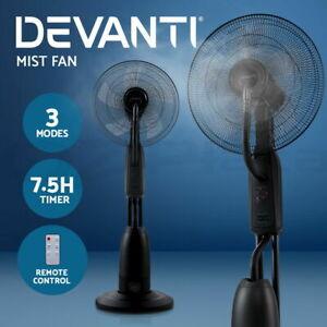 Devanti Mist Fan Portable Misting Fans Remote Pedestal Water Cool Spray 5 Blades