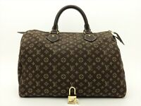 Louis Vuitton Authentic Monogram MINI Lin Ebene Speedy 30 Hand Bag Purse Auth LV