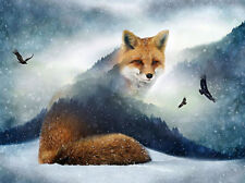 Hoffman Call of the Wild Red FROSTY FOX Scenic Forest Fabric 27 In Panel Pattern