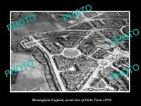 OLD LARGE HISTORIC PHOTO BIRMINGHAM ENGLAND AERIAL VIEW OF GLEBE FARM c1950