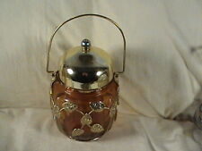 Musical Amber Biscuit Jar Brass Golden Leaves Motif, Tune, Love Story, Schmidt?
