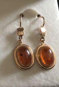 Amber Drop Dangle Earrings in 14kt Yellow Gold Marked 585