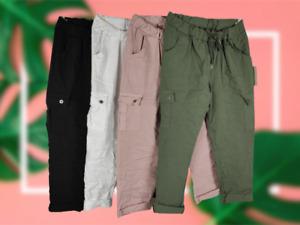 NEW Ladies Italian STRETCH Pocket Trousers PLAIN MAGIC Combat Joggers One Size