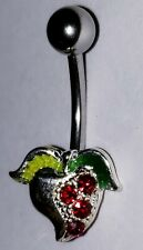14g 7/16 Inch New Body Jewelry Red Jeweled Strawberry Navel Belly Button Ring