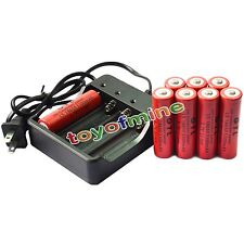 8x 18650 3.7V GTL 6800mAh Li-ion Rechargeable Battery for LED Torch + Charger
