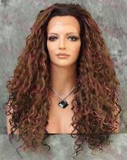 Blonde/Brown Long Full Spiral Curls Heat OK Lace Front Human Hair Blend Wig STEI